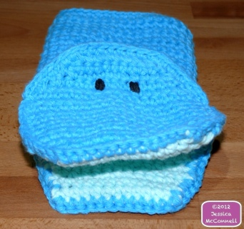 Cotton crochet whale bath mitt buddy