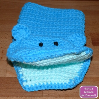Crochet cotton hippo bath mitt buddy