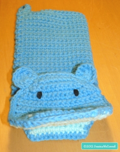 crochet hippo bath mitt buddy smile